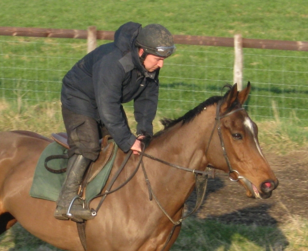 And we will be hoping this lad is in training there - Agglestone Rock is yet again on the comeback trail - pictured here on the gallop at Reveleys with Simon in 2011