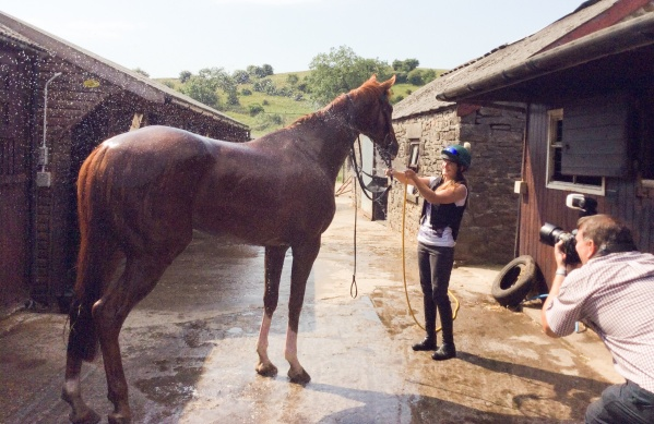 A scorcher! lauren hoses Prince (Improved) down after exercise...