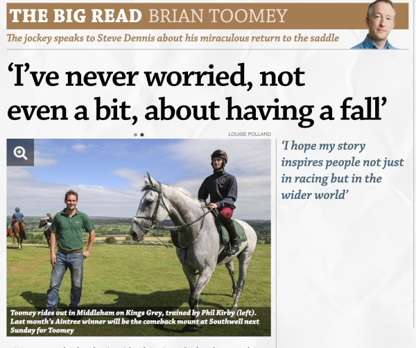 Read about Brian's big comeback in tomorrows Racing Post special pullout
