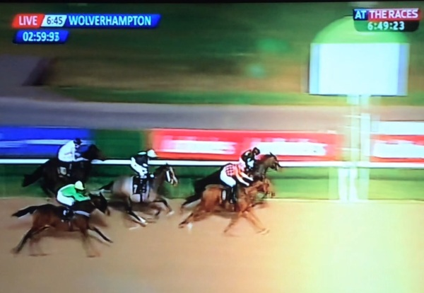 Cavalieri just getting touched off at Wolverhampton tonight