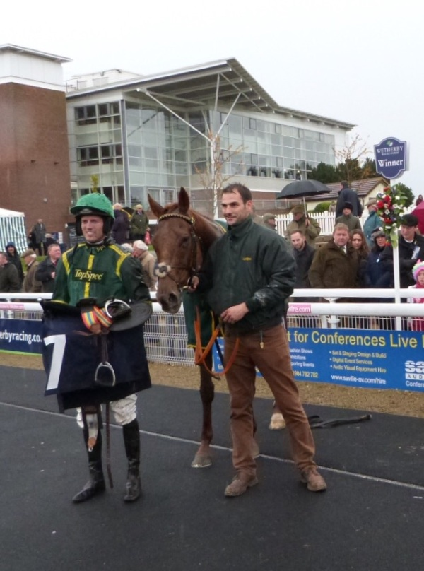 Phil and Adam with Colin in the winners enclosure at Wetherby , photo kindly sent in by Mike Dunn