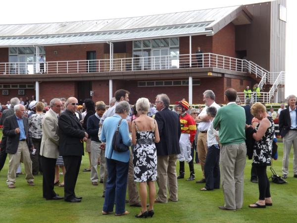 Many of Next Edition's owners in the paddock at Redcar