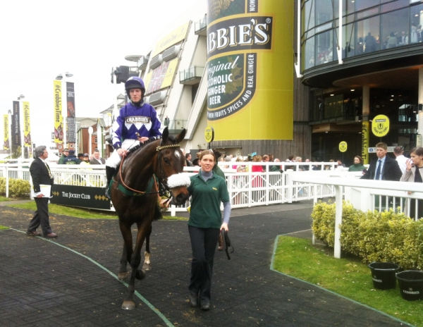 Lady Buttons,Adam Nicol & Sarah Olley at Aintree in April.