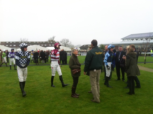 Our four jockeys in the novice hurdle...Kyle, Henry, Adam and Phillip.