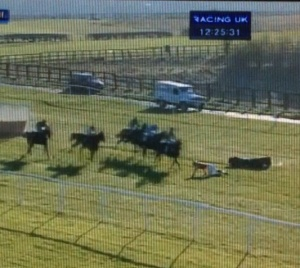 Adam Nicol faces a wall of horses but walks away unscathed thank goodness.