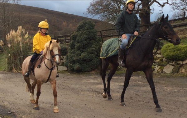 Izzy and Phil on Geordan Murphy going riding at Castleton today.