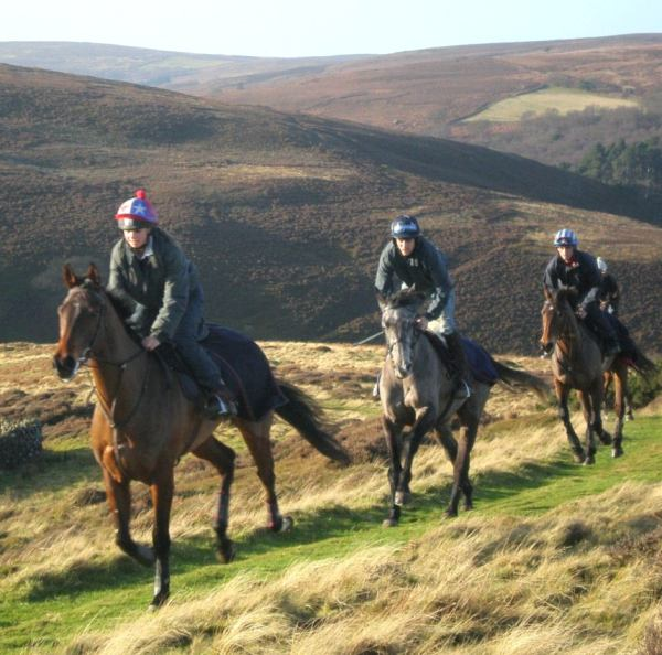 Cantering the horses over the moor at Castleton in 2008