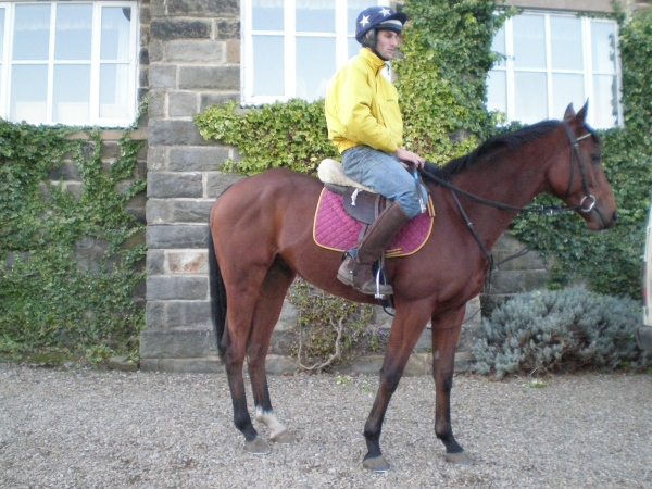 Phil riding out a weak looking 3 year old Goldan Jess the day after he claimed him from Ludlow