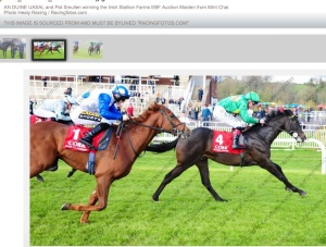 Mint Chai in second, closing fast. The winner is entered in the Listed Lily Agnes stakes at Chester on Wednesday