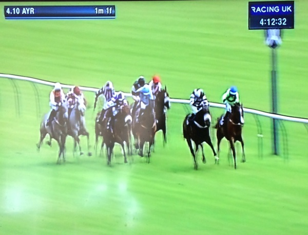 Iftikaar in the purple and white silks strikes for home but doesnt quite catch the leaders.