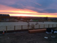 Sunrise this morning over our fantastic new fibresand manege
