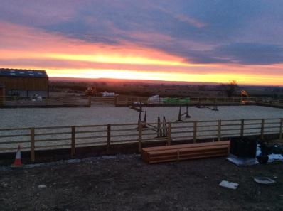 Sunrise this morning over our fantastic new fibresand manege