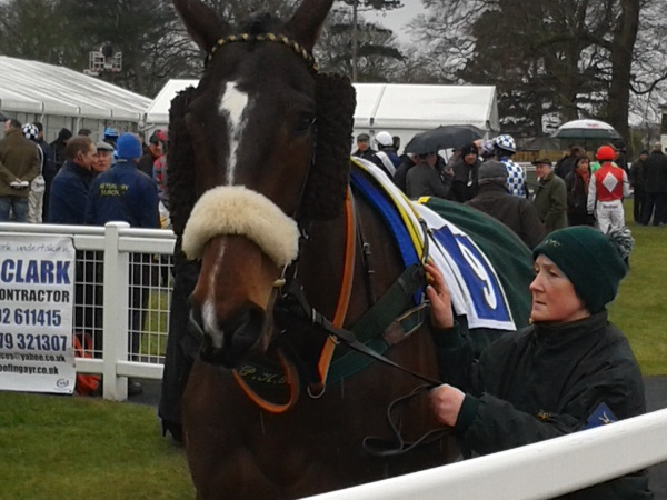 Stenna in the paddock with Julie before his win