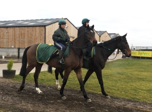 Lady Buttons (nearside) with sarah who will be leading her up this afternoon