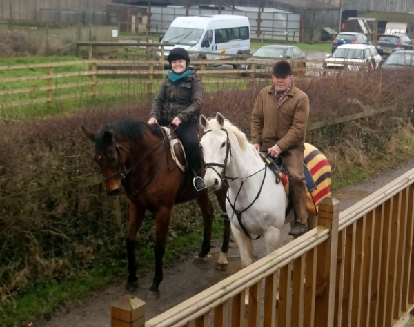 A super picture of Goldan Jess hacking out with Lucy Fletcher and her Grandad Stuart in his new home at Great Ayton