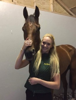 Stacey with Nemeon Lion after a winning performance at Sedgefield