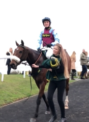 Tommy returning with Nitwit and Meg after winning the Grade 2 at Wetherby