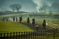 Date: 17th December 2018. Phil Kirby racing stables, Green Oaks, East Appleton, Richmond, Yorkshire. Pictured Jockey's riding on the gallops.
