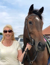 Back in business - Lady Buttons with her Owner Jayne this morning