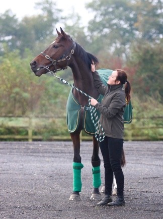 Lady Buttons with Julie after parading at Wetherby yesterday in the Go Racing in Yorkshire morning
